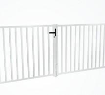 Kit portail pivotant remplissage barreaux carrés blanc PRÊT A POSER