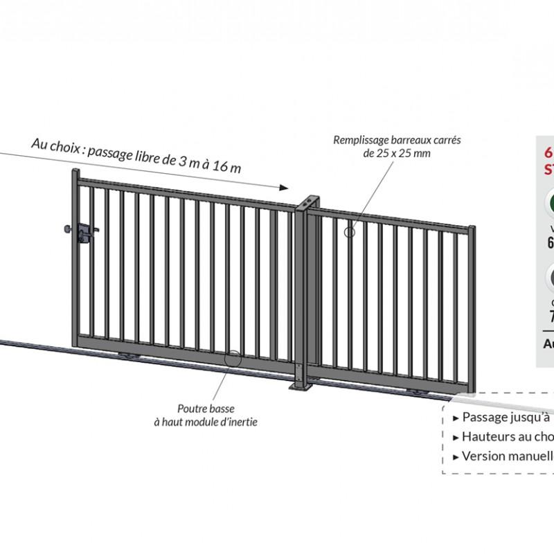 Ultra Portail coulissant en acier, série industriel, fabrication sur-mesure FP-96