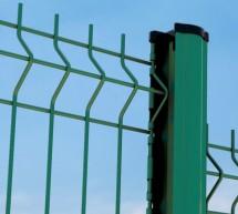 10 mètres de clôture PANNEAU RIGIDE Fil ø 4-5mm VERT avec poteau à encoches
