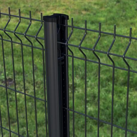 Clôture grillage rigide noir, gris anthracite ou blanc avec poteau à clips de qualité PRO