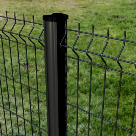 2m50 clôture panneau grillage rigide gris anthracite, blanc ou noir avec poteau à encoches