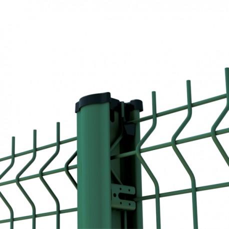 2m50 panneau grillage rigide Premium fil ø 5mm VERT avec poteau à clips