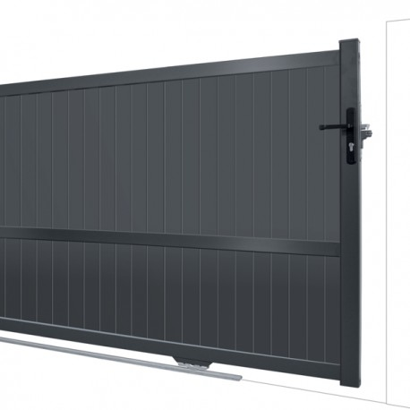 Portail brise-vue roulant sur rail en Aluminium