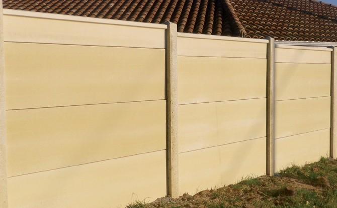 Cloture Mur Plein En Plaques De Beton Avec Ou Sans Chaperon